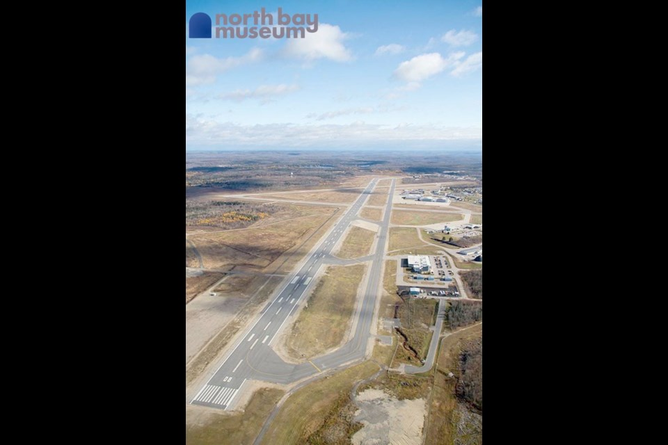 An aerial view of the current runways and buildings at the North Bay Jack Garland Airport.