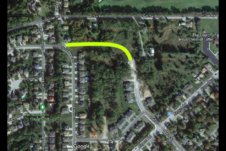 With Council's approval and its conditions met, the highlighted portion will connect Bain Drive.