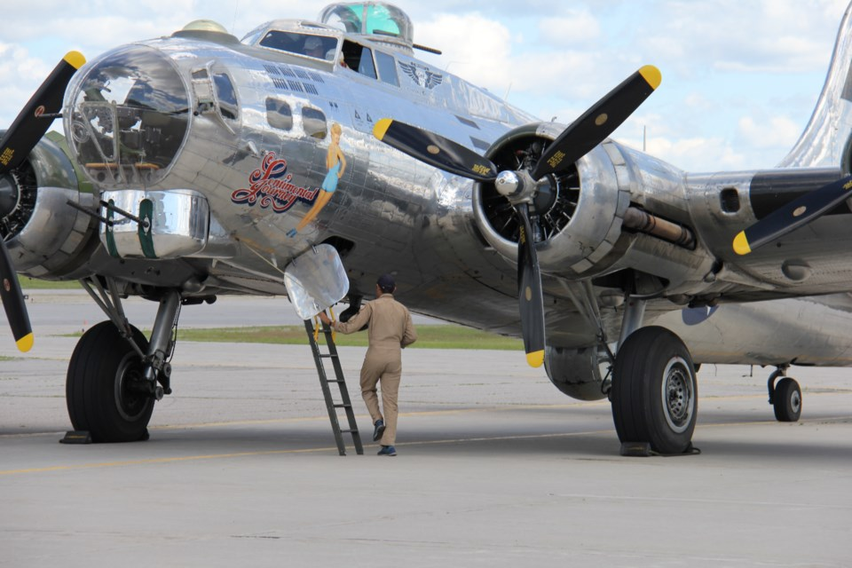 The B17 'Flying Fortress' sits at the Jack Garland Airport. Photo by Jeff Turl.