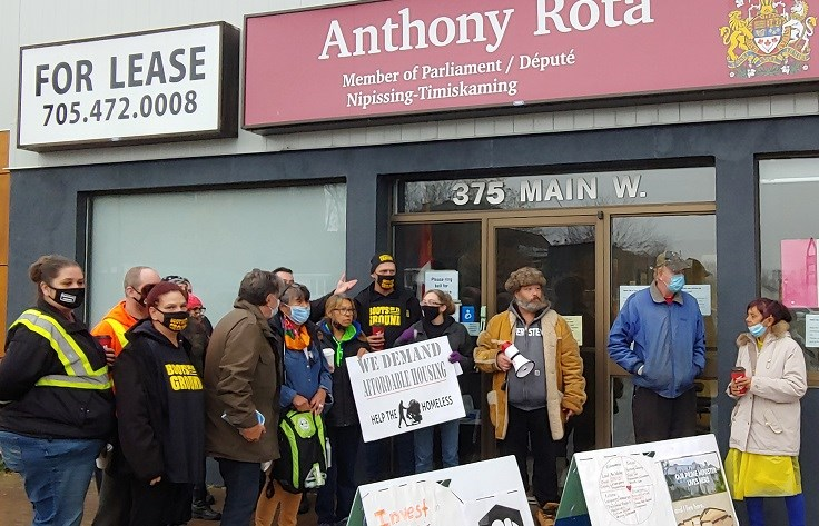 The demonstration kicked off from MP Anthony Rota's office. Photo: Stu Campaigne