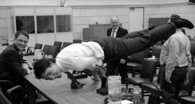 rota, anthony and trudeau, justin doing plank 2016