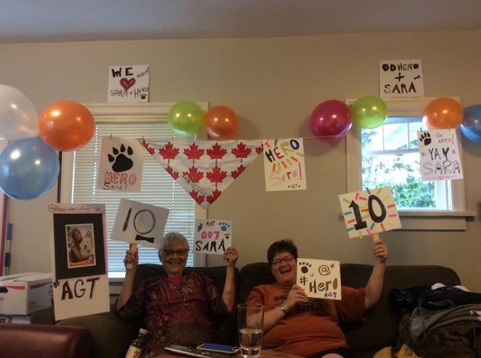 Sara's grandmother Elaine and friend Naomi go all out to support their favourite entertainer, Sara Carson.