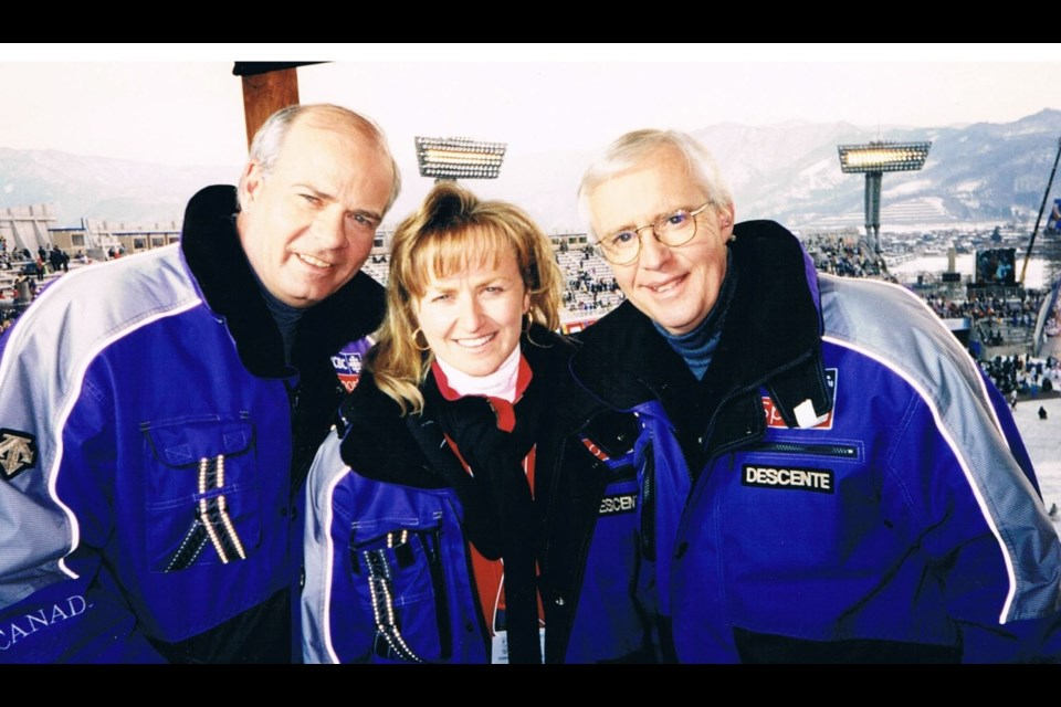 Michele Walker with Peter Mansbridge (Left) and Brian Williams (Right) during CBC coverage of the 1998 Winter Olympics in Nagano, Japan.