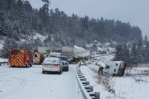 This accident south of Temagami has closed highway 11. Courtesy OPP.