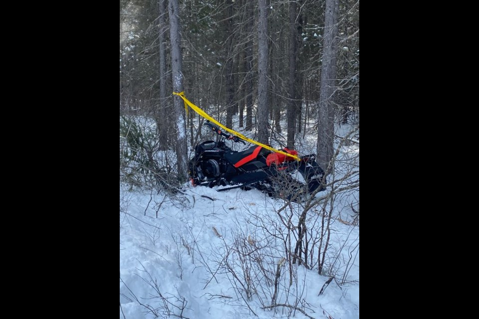 Almaguin OPP investigated a snowmobile accident on February 7, on Forestry Tower Road in Perry Township. The driver left trail and struck a tree.  He was taken to hospital by with non life threatening injuries.   OPP is reminding snowmobilers to slow down. Supplied.