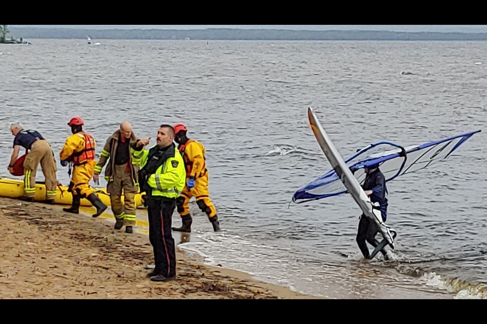 The subject of the search was a windsurfer who told rescuers that he was fine, and wanted to be left alone.