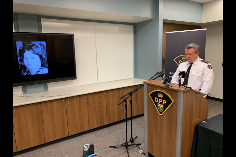 OPP Detective-Inspector Kurtis Fredericks gives few details on the case.  Photo by Chris Dawson/BayToday.