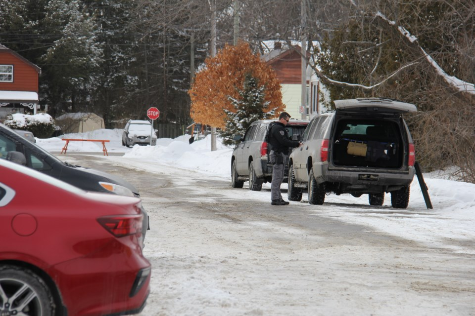 Police have shut down Passmore Ave. to search for a possible explosive device. Jeff Turl/BayToday.