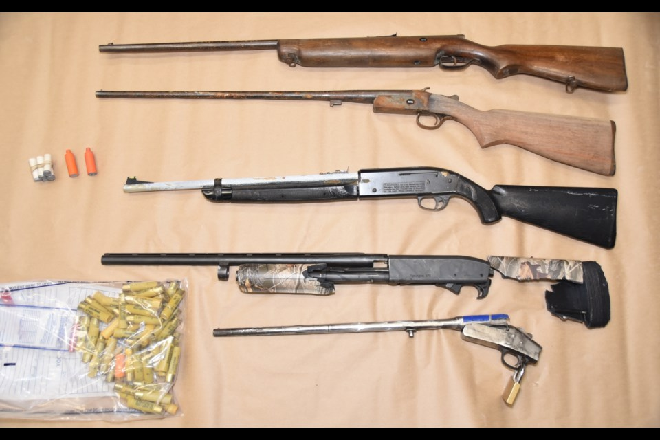 Weapons seized by police at the Passmore Av e. house. Courtesy NBPS.