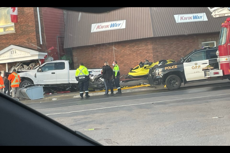 This pickup truck crashed through the front door of the Burk's Falls town office. Courtesy Brandon Schmidt.