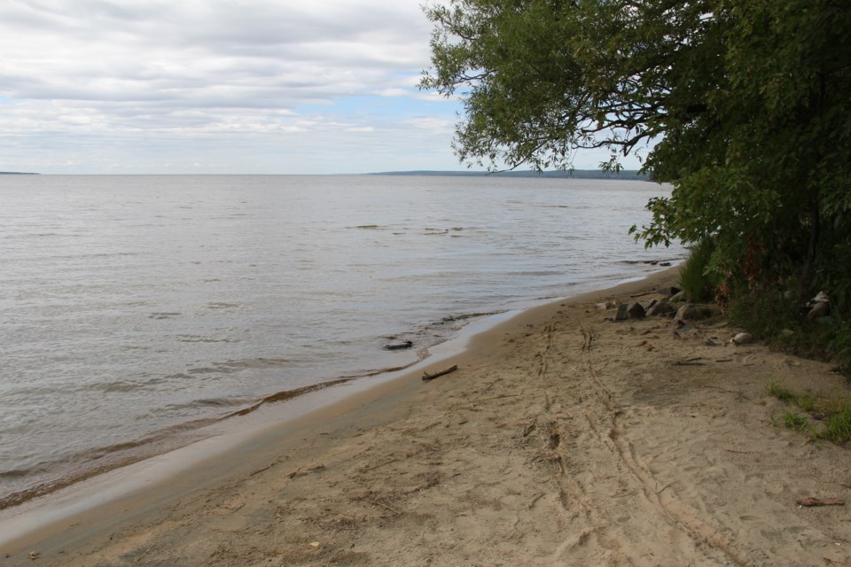 This beach on Lake Nipissing at the end of Marshall Avenue was the scene of a sudden death Thursday morning. Photo by Jeff Turl.