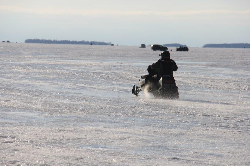 20180309 snowmobile on lake nipissing turl