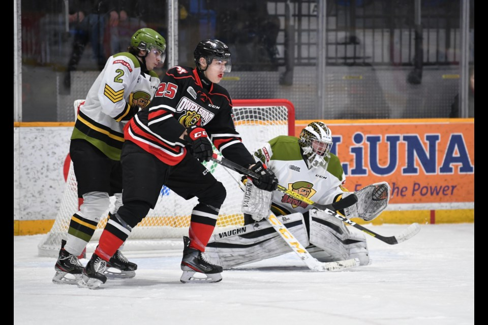 New goalie Cameron Lamour in action. Photo by Tom Martineau/BayToday.