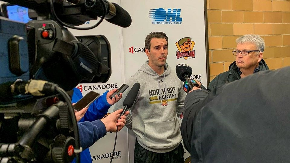 Ryan Oulahen talks to the media after being named the second head coach in Battalion franchise history