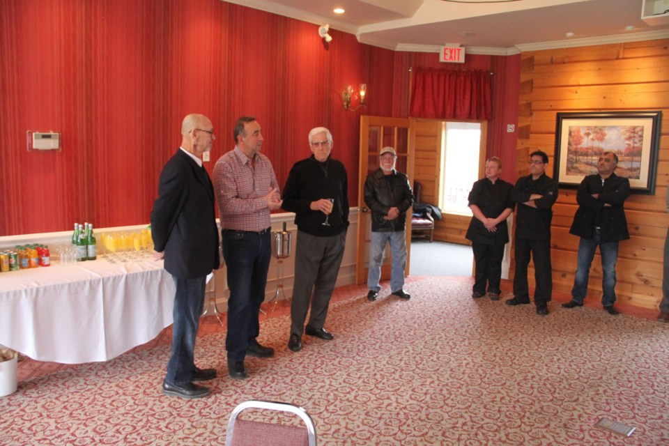 (L to R) Callander Mayor Hec Lavigne, Jimmy Kolios and John Jameson at Thursday's Terrace Suites press conference.  Photo by Chris Dawson.