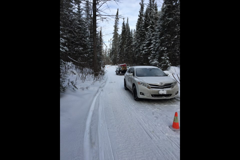 A motorist followed GPS directions down a snowmobile trail. Courtesy OPP.