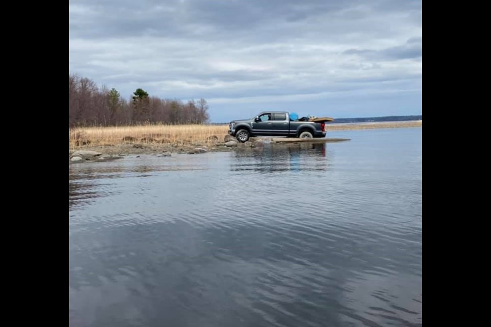 This Ford pickup crashed through the ice in Callander Bay a few weeks ago. Facebook.