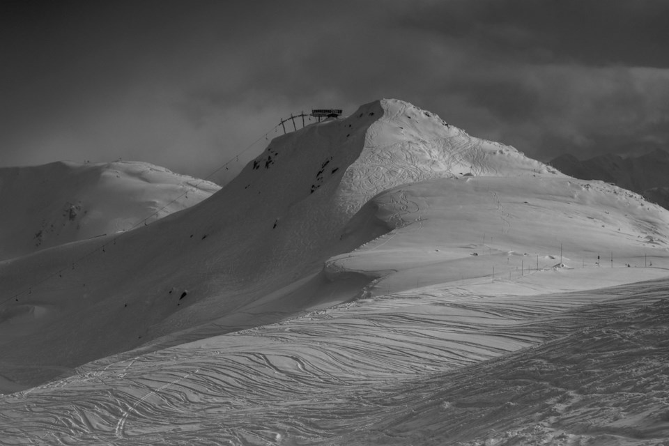 Black and white landscape of a snowy mountain top