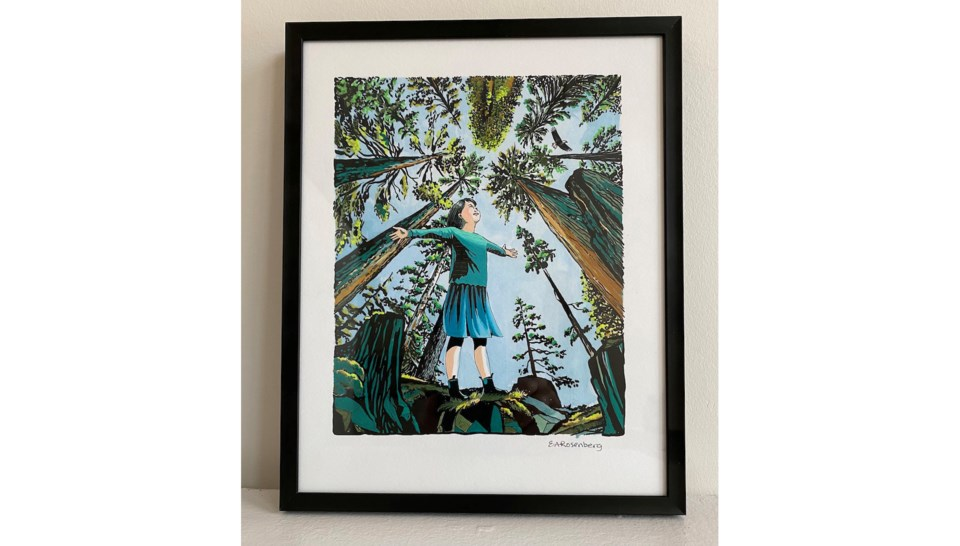 Painting of a girl arms wide open looking at trees