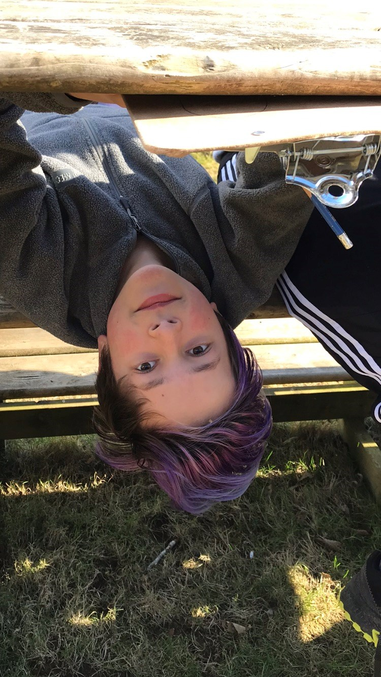 Upside down photo of Trey