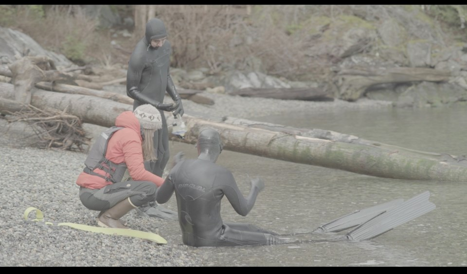 Three people on a beach – two in wetsuits