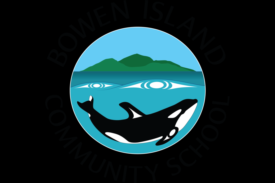 """Squamish artist Xwalacktun, Rick Harry, designed the new BICS logo with input from students and staff and support from the BICS logo committee and Austin Harry. """"The whale logo represents our school's commitment to place based learning. It depicts a yew yew (orca) swimming in the Salish Sea with Bowen Island on the ocean waves. This logo marks the 10th year of hosting Whale Day at BICS; an event that is created with thanks to our Squamish host nation,"""" writes BICS community coordinator Sarah Haxby."""