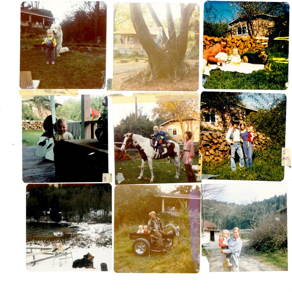 Collage of nine photos - looks like the '80s – in Davies Orchard