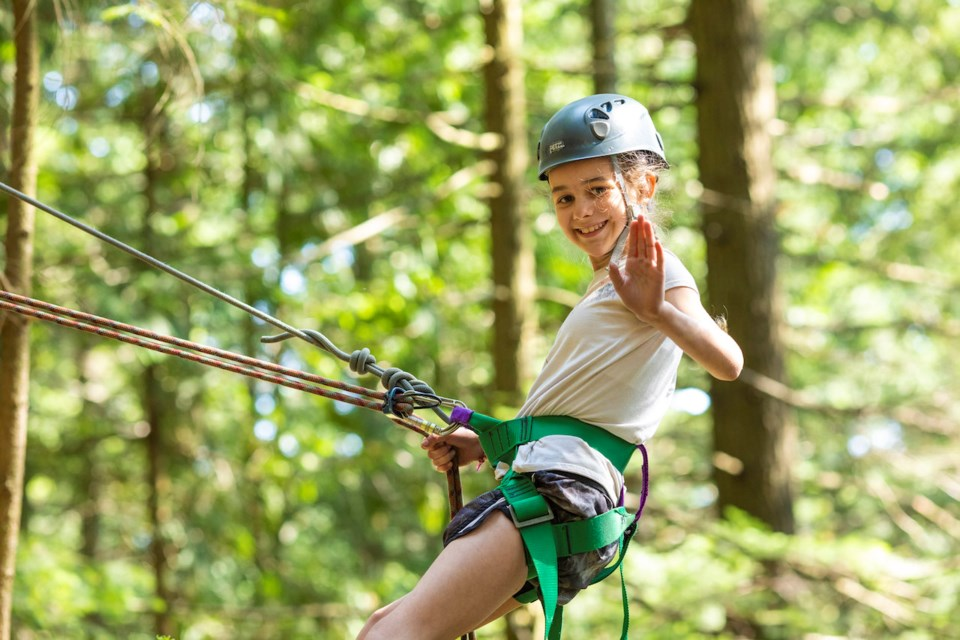 Kid on the rope course