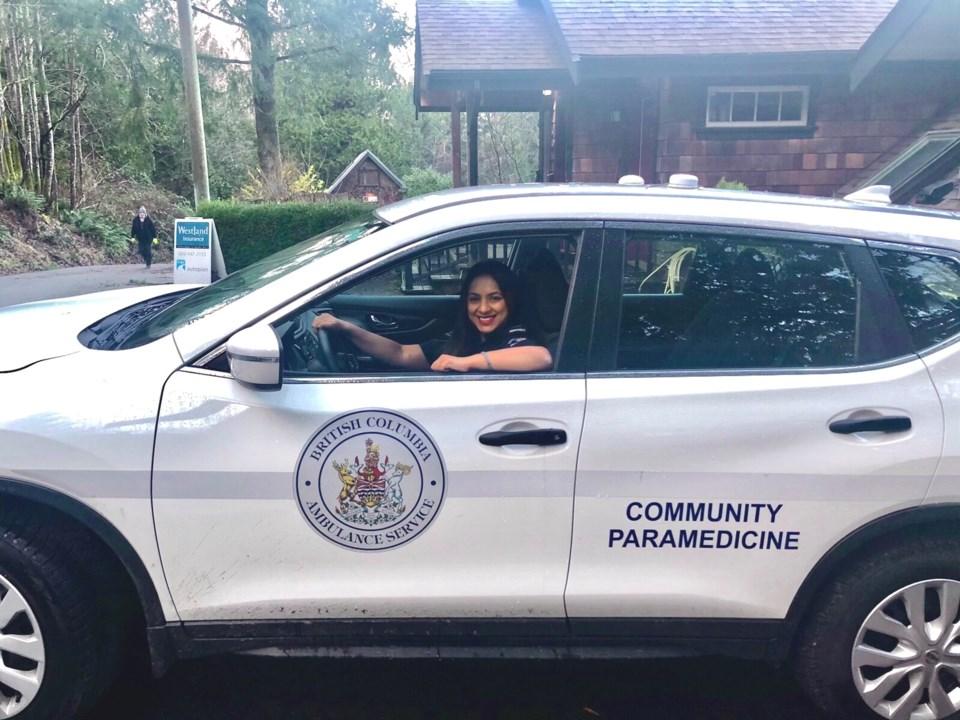 Kristine Kumar in the community paramedic vehicle