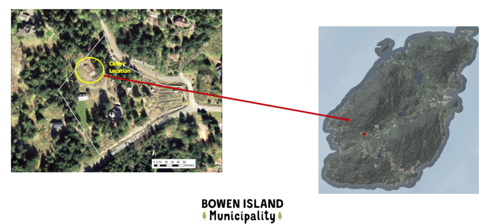 Location of a new proposed cidery on Bowen Island Feb. 2021