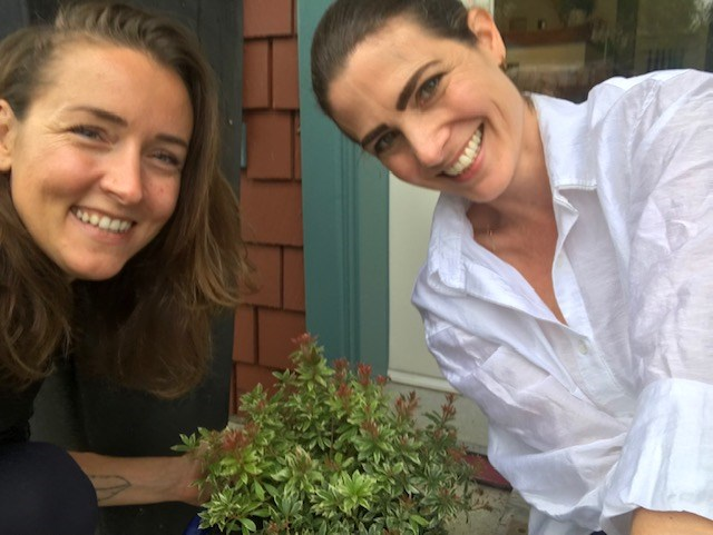 Well women pose with lavender bush