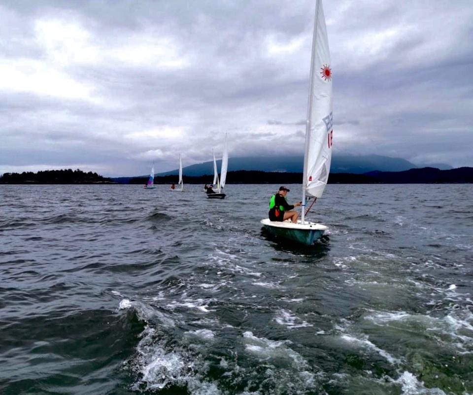 BIYC sailboats in choppy water
