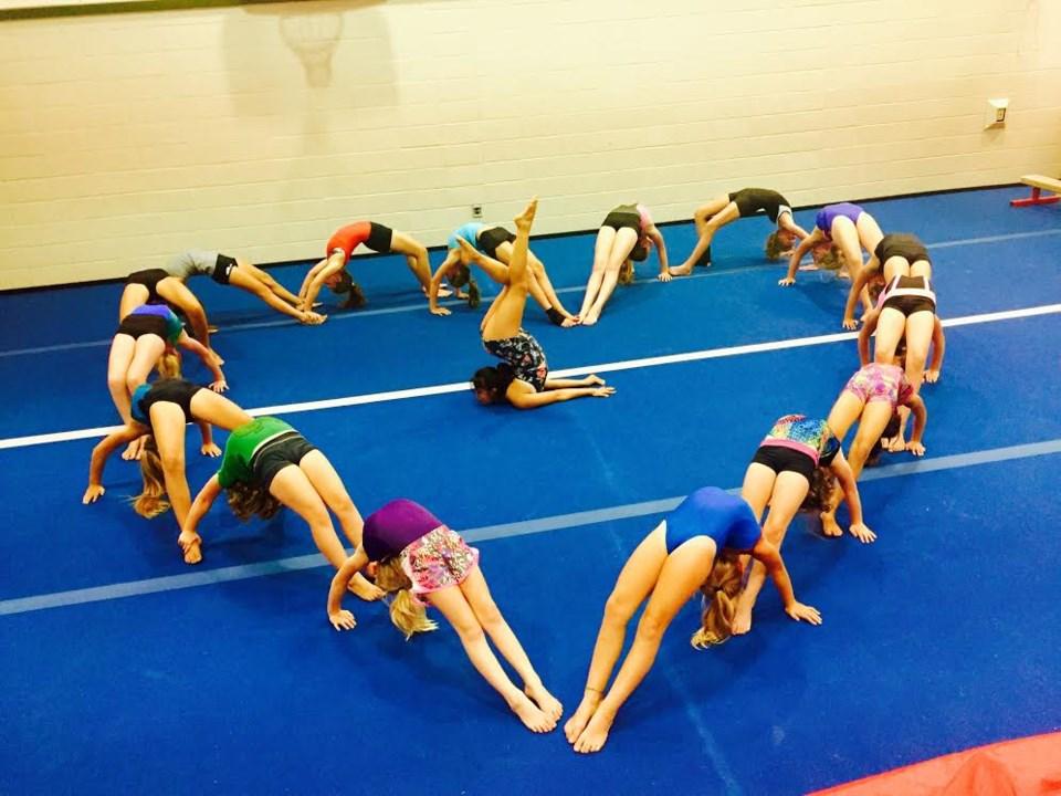 Bowen Island Gymnastics Club in the shape of a heart