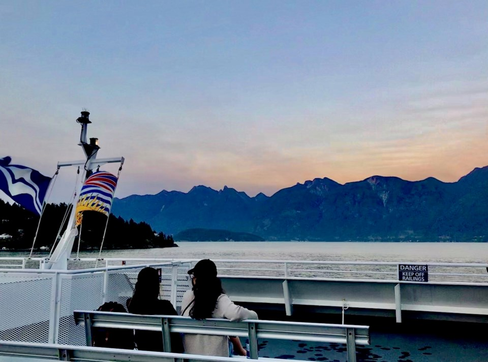 Leaving Bowen Island at sunset on Queen of Capilano