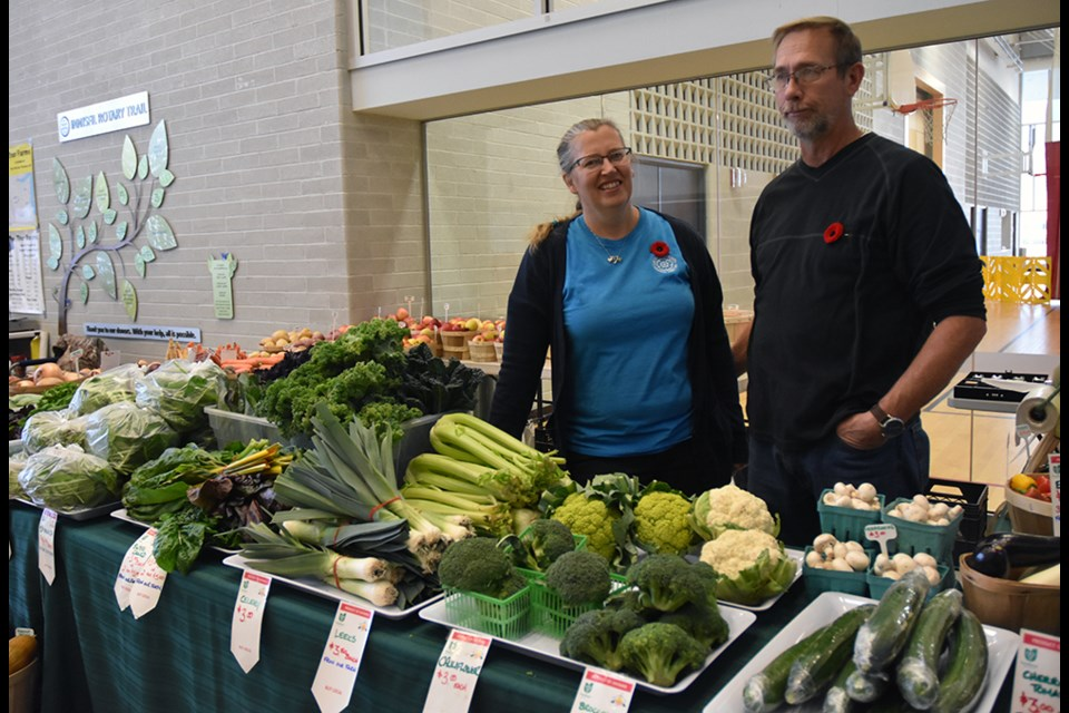 Rob and Rosemarie Radcliffe of Lakeview Gardens, at the indoor Innisfil Farmers' Market. Miriam King/Bradford Today