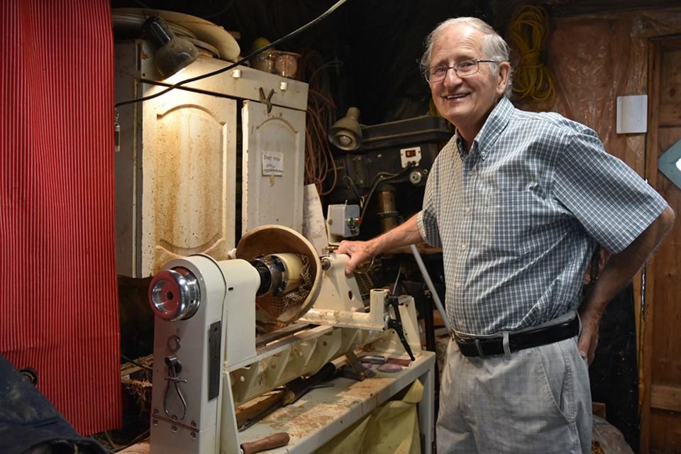 Bill Burlton, in his home woodworking studio in Bradford. Miriam King/Bradford Today