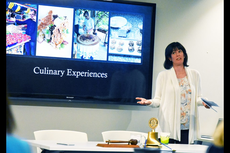 Eleanor Dath, independent travel advisor Vision Travel, talks to Innisfil's Rotary Club about Food Tourism. Miriam King/Bradford Today