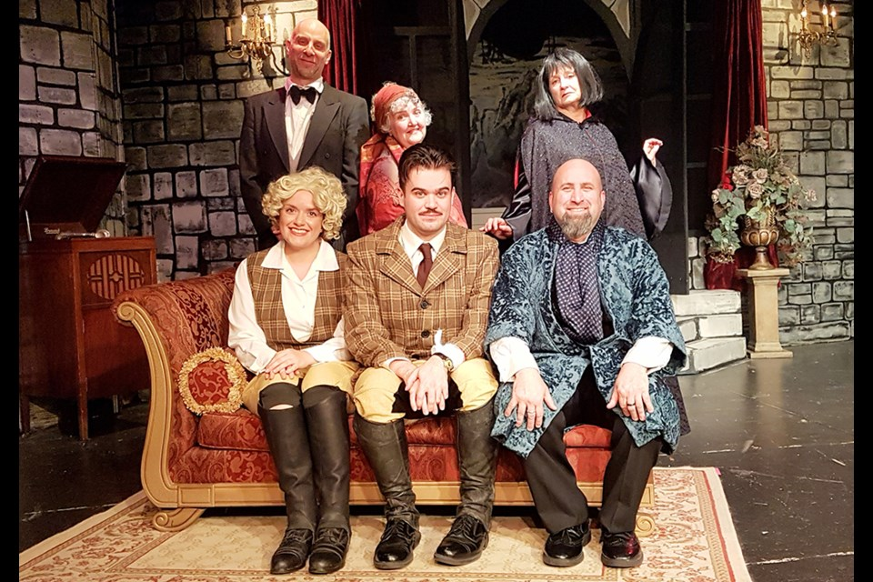 Cast of When the Autumn Moon is Bright, first show in South Simcoe Theatre's 2019-2020 season. Clockwise from lower right - Harry Lavigne as Boris, Gordon Haney as Fulton, Rosalind Naccarato as Camille, Keri Hughes as Poe the Butler, Phyllis Johnson as Bella, and Jane Bolton, Countess Alucard. Photo supplied
