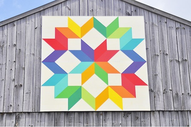 Pat Palumbo's barn quilt is called Starburst and is described as a burst of energy. Jackie Kozak/BradfordToday