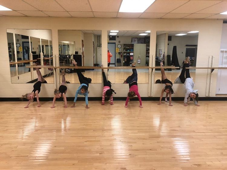 Parker Autumn Dance Company's mini acro class with Hallie, Megan, Mya, Bianca C., Bianca P., and Yale-Hannah. Submitted Photo.