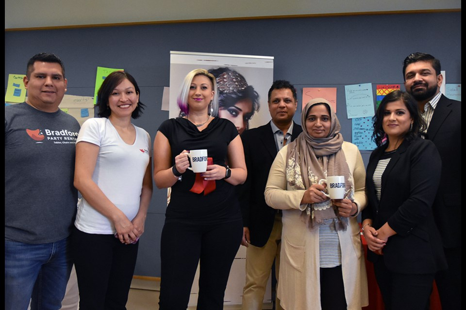 From left, Carlos and Giuliana Valle of Bradford Party Rentals, Natasha Leskiw – Personally Yours, Shazia and Naseer Shafqat – founders of Elders Home, and Sumayya and Atif Khan, Sumayya & Co. Miriam King/BradfordToday