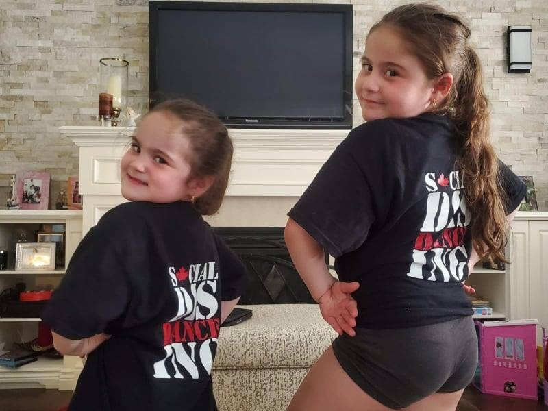 Elite Dance Corps students sporting their new shirts made by Times Designs  that help support front line workers. Submitted photo