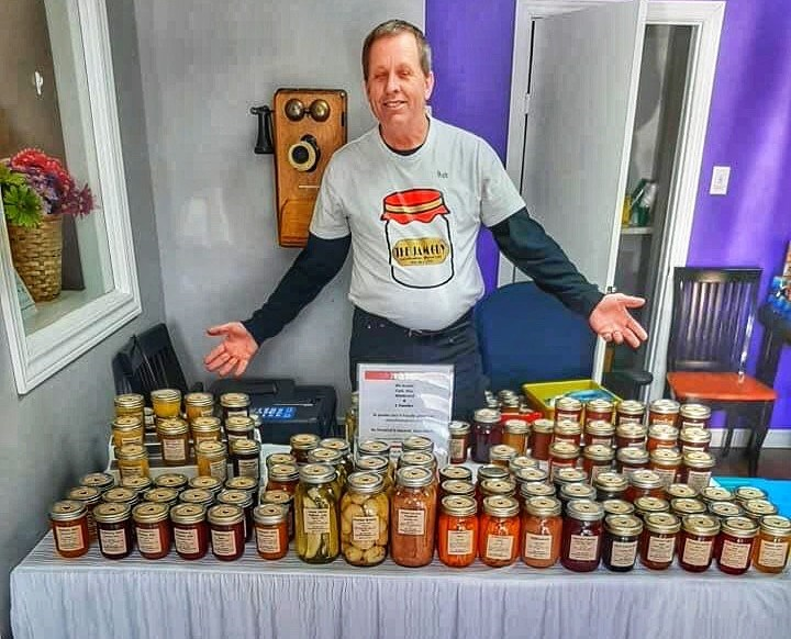 Robert Salmons displays all his flavourful jams and preserves at one of more than a hundred different events he participated in during 2019. Contributed photo
