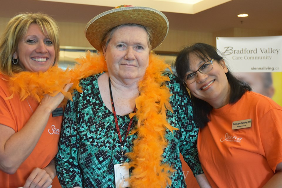 From left, Volunteer Co-ordinator Lisa Lloyd, Resident's Council president Brenda Laur, and Director of Care Punnapa Hartley, at the start of the Walkathon at Bradford Valley. Miriam King/Bradford Today