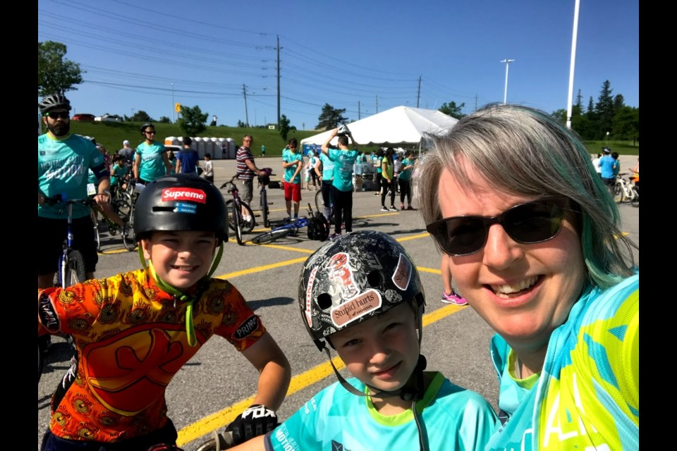 Judy Brunton and her two sons participating in a past Mental Health in Motion fundraiser for CMHA. Submitted Photo