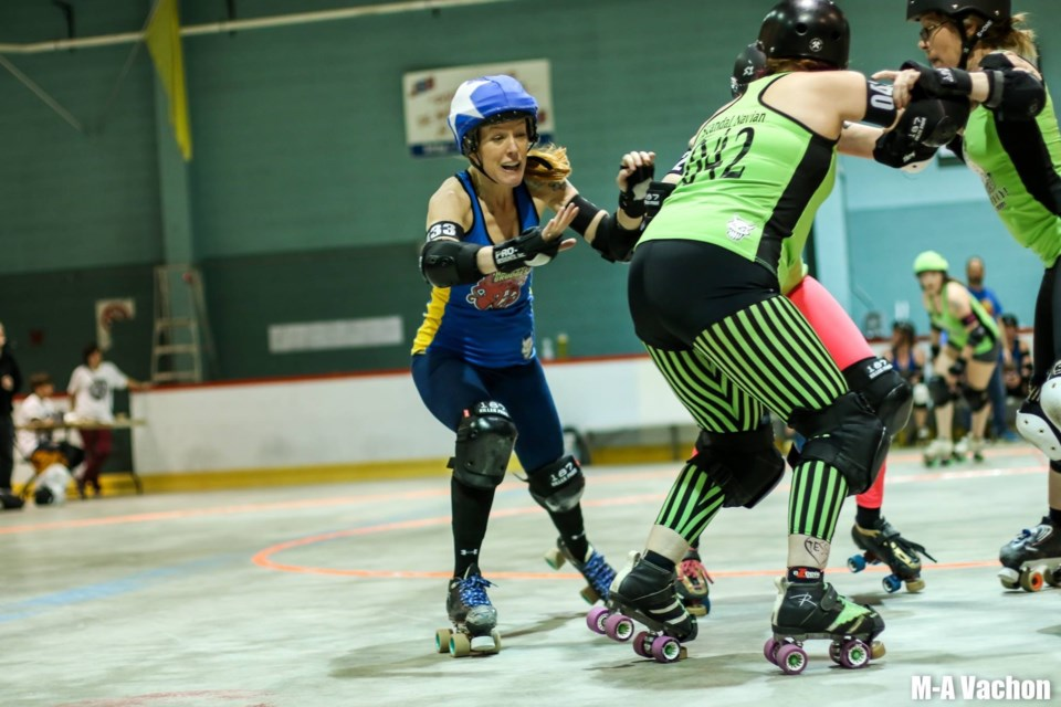 The Toronto Roller Derby League is a high-contact sport that attracts many spectators mainly due to the rough-nature of the game which involves many collisions and falls. (Picture: Team - Chicks Ahoy)