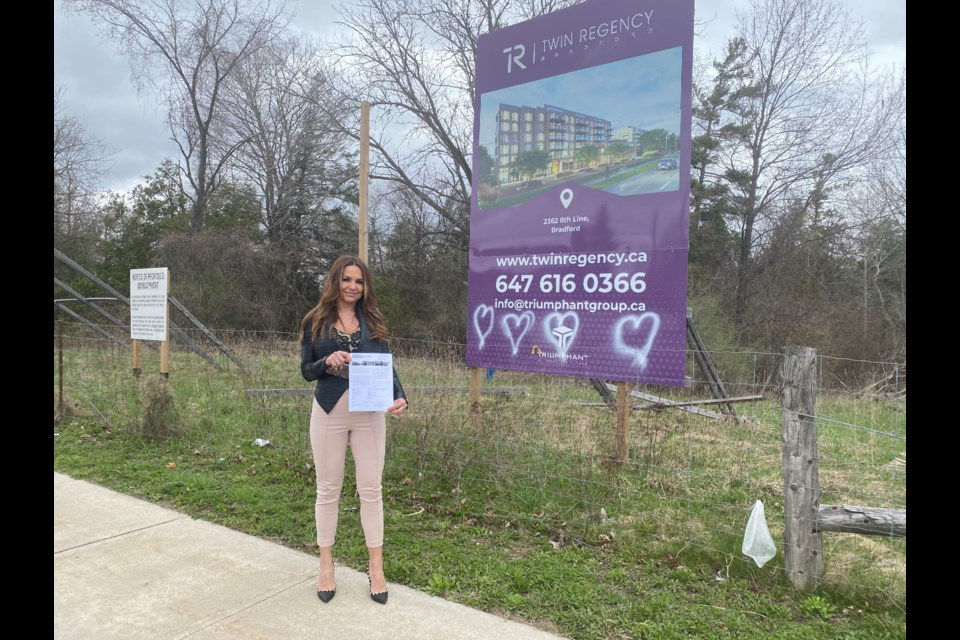 Realtor Anastasia Orlando purchased tickets for the VIP Access Event for the Twin Regency condo project on 8th Line. She is hanging onto them in hopes it will still happen. Natasha Philpott/BradfordToday