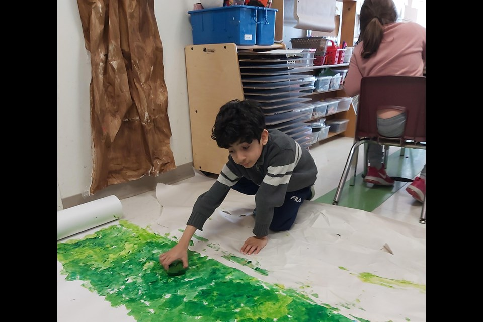 Grade 2 student at Chris Hadfield Public School in Bradford works on Making Change Art Engagement project. SUBMITTED