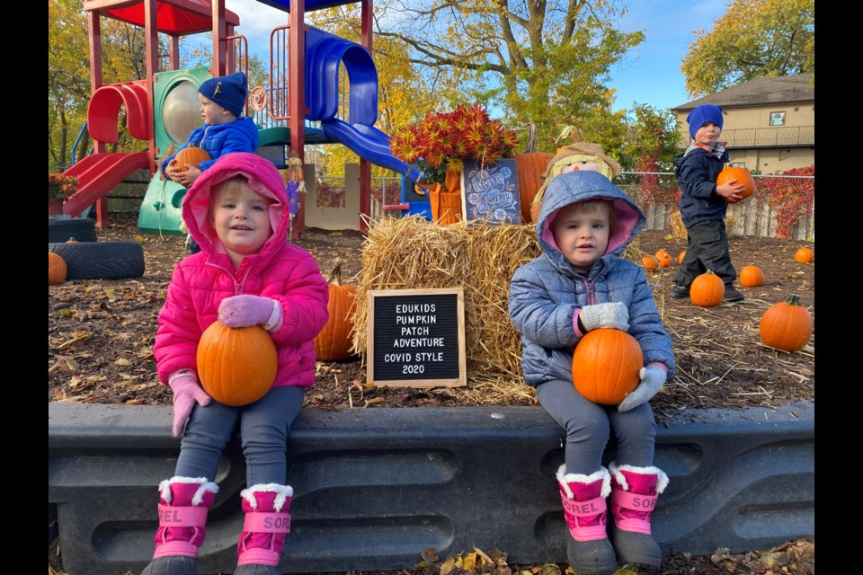 Staff at EduKids made their own pumpkin patch experience for the kiddos on Friday morning. Natasha Philpott/BradfordToday