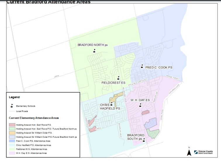 The current school boundaries.